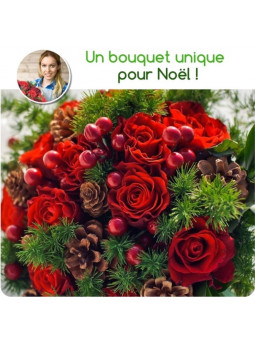 BOUQUET DE NOËL DU FLEURISTE - TONS ROUGES