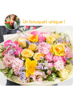 BOUQUET MULTICOLORE SURPRISE DU FLEURISTE DOM TOM. GUADELOUPE, MARTINIQUE ou bien LA RÉUNION